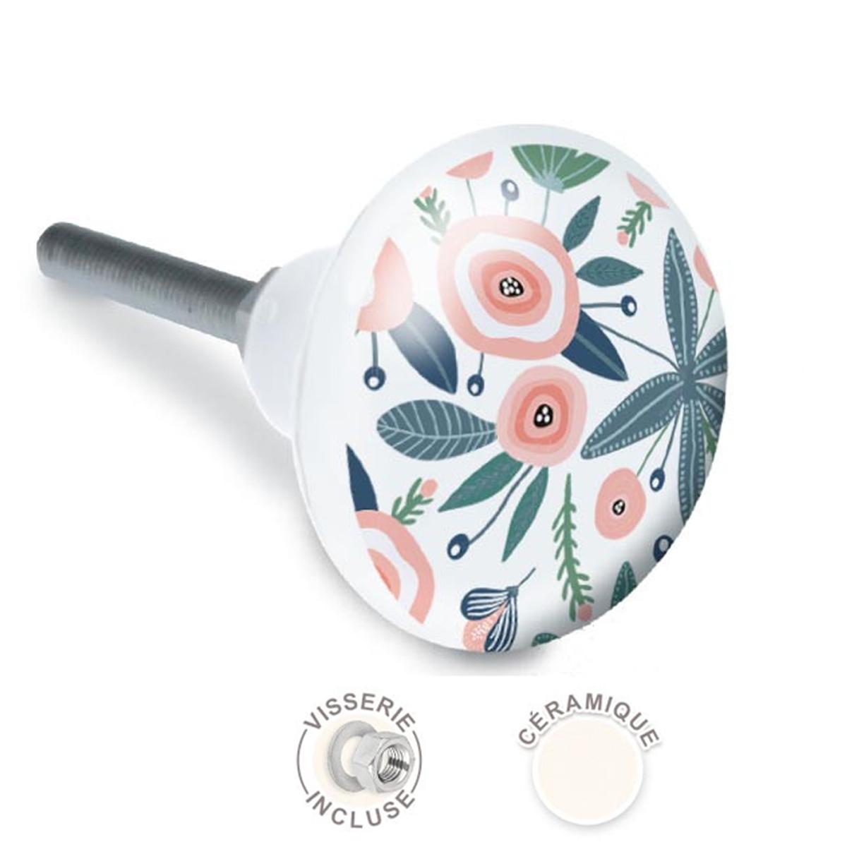Bouton meuble céramique \'Floral\' rose vert blanc - 65x35 mm - [A2525]