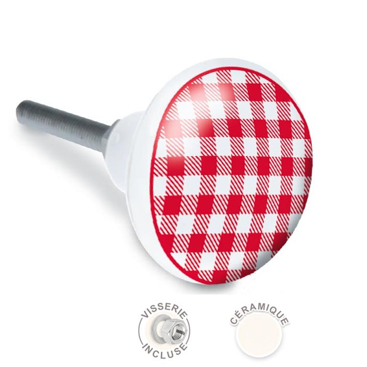 Bouton meuble céramique \'Carreaux vichy\' rouge blanc - 65x35 mm - [A2527]