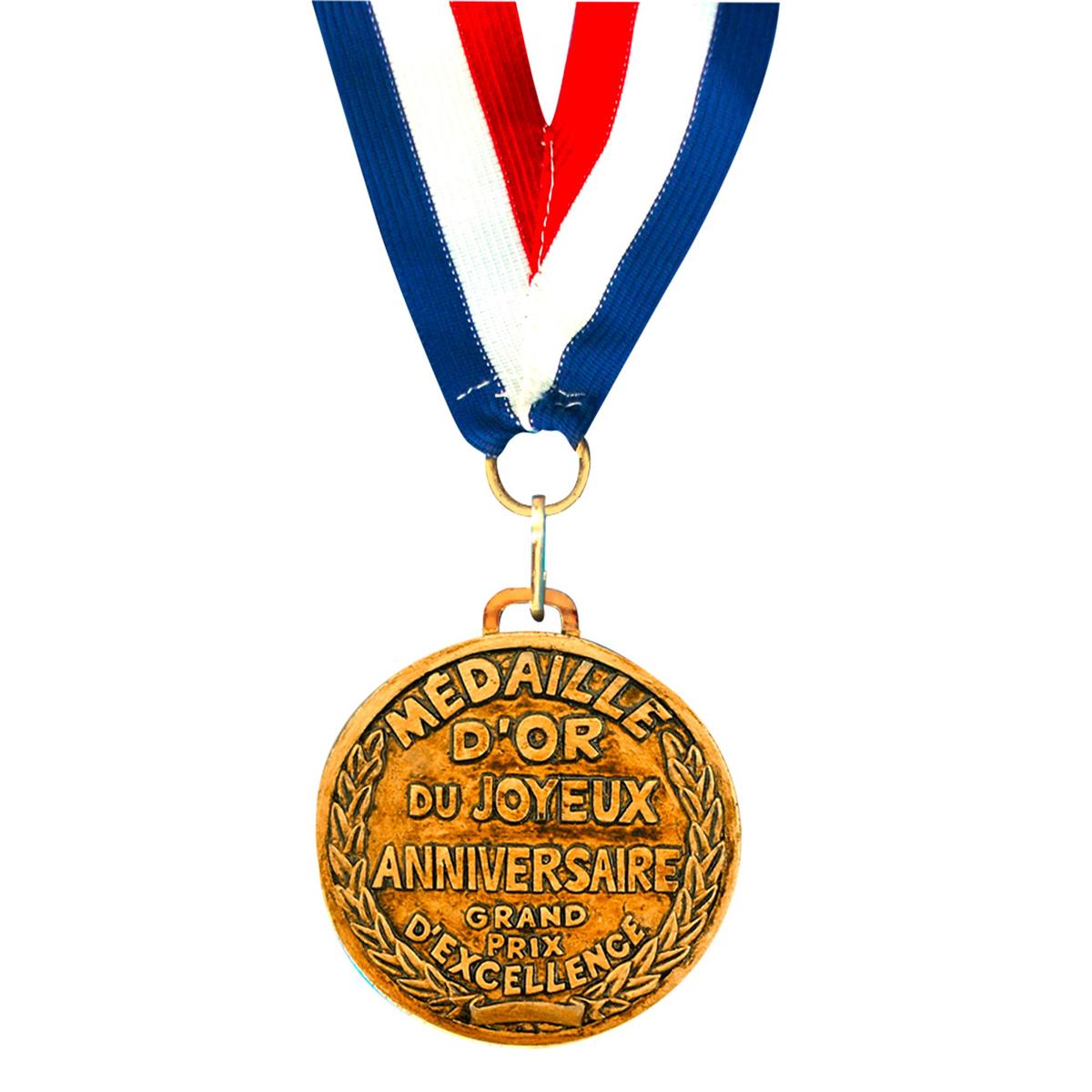 Médaille d\'or \'Joyeux Anniversaire\' - 7 cm - [A2531]