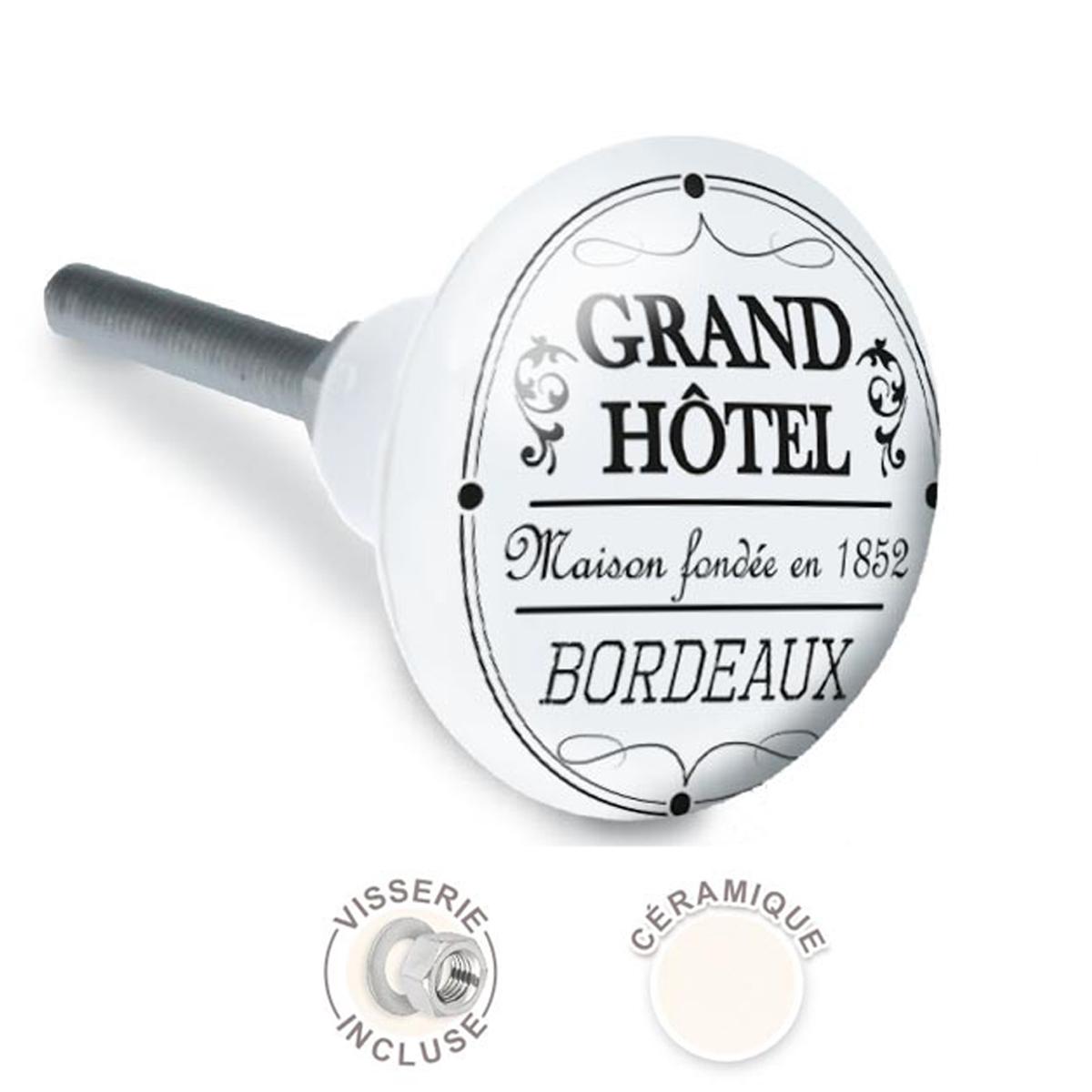 Bouton meuble céramique \'Grand Hotel\' noir blanc - 65x35 mm - [A2535]