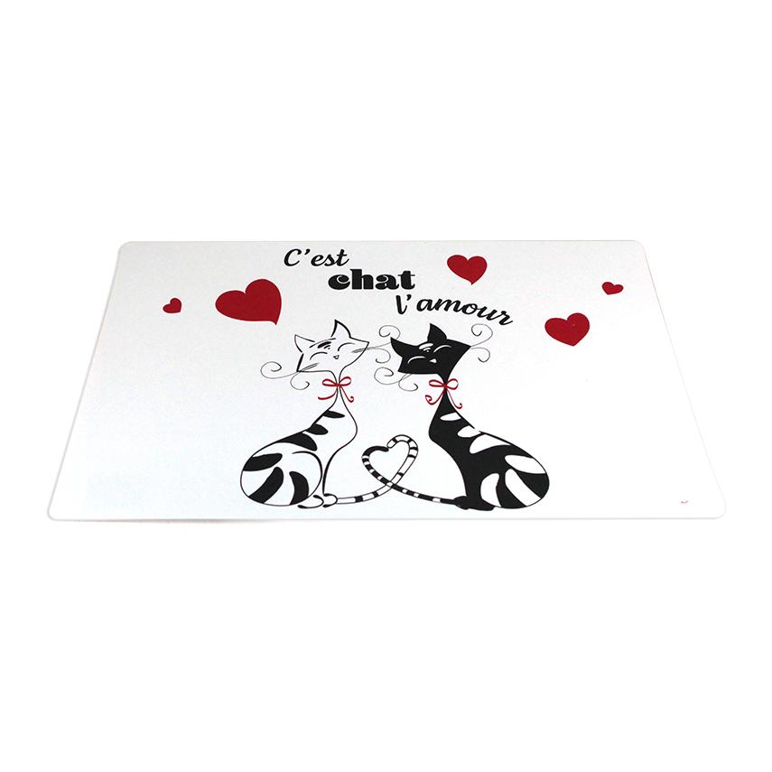 Set de table \'Chats\' rouge noir blanc - 43x28 cm (C\'est Chat l\'amour) - [A2555]