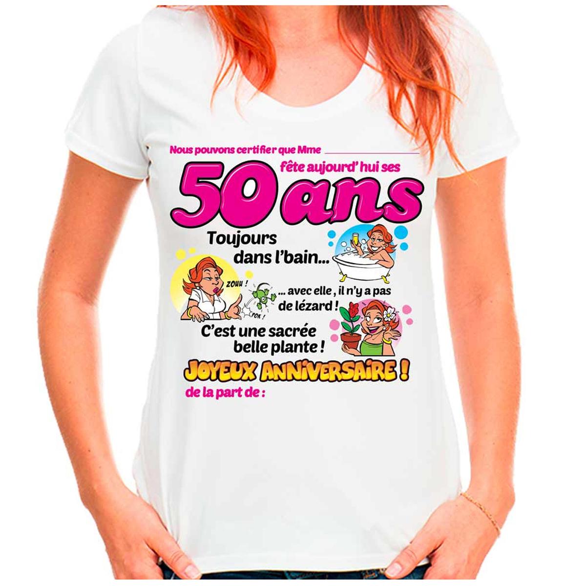 T-shirt coton \'50 ans\' rose blanc - femme (dédicace) - [K5832]