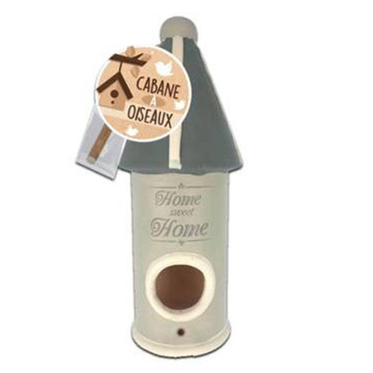 Nichoir céramique \'Home Sweet Home\' gris - 25x9 cm - [P8860]