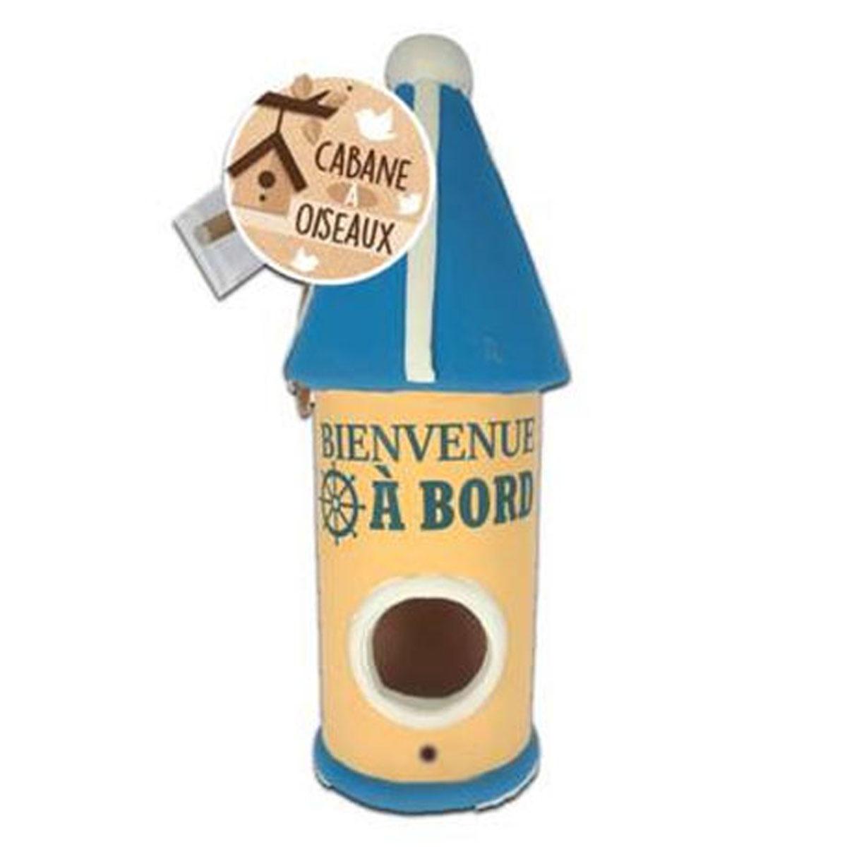 Nichoir céramique \'Bienvenue à Bord\' bleu beige - 25x9 cm - [P8861]