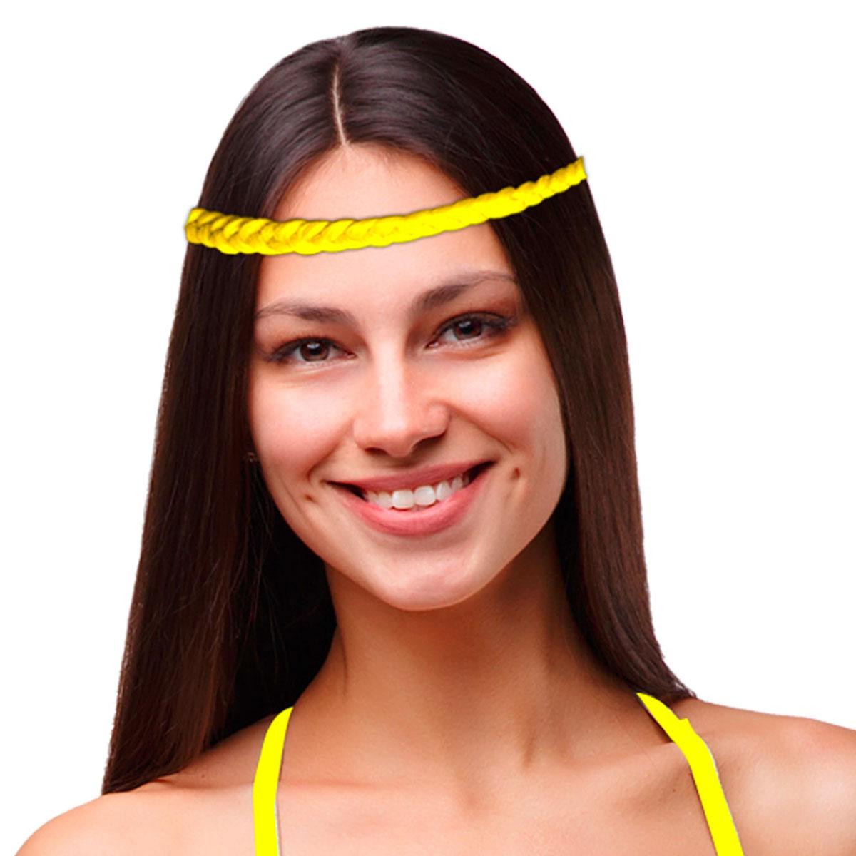 Bandeau faux cheveux \'Tresses\' jaune - [Q5001]