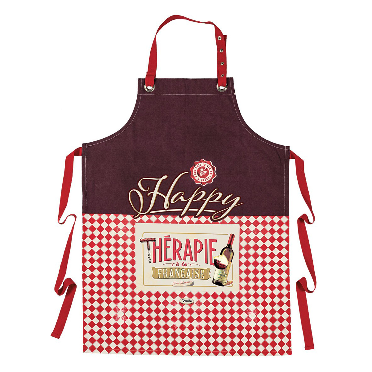 Tablier coton \'French Vintage\' (Happy Thérapy à la française -  Vin) - 80x57 cm - [Q7152]