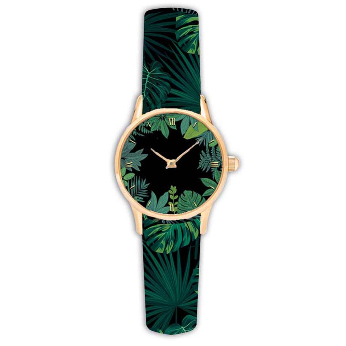 Montre créateur \'Jungle\' vert noir - 38 cm - [Q9009]