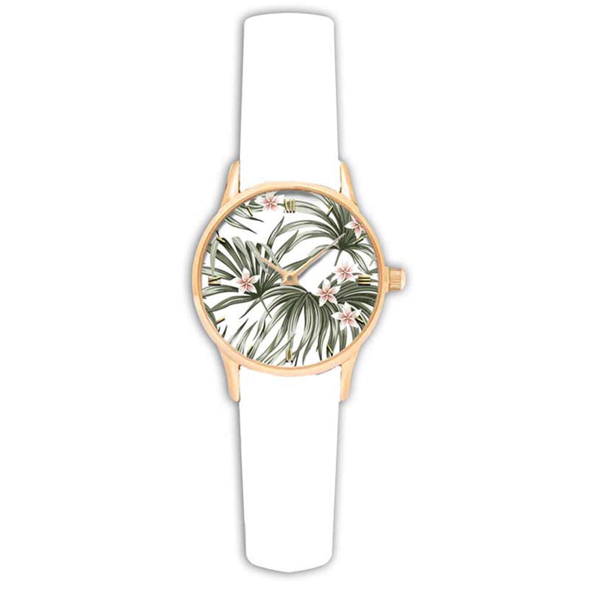 Montre créateur \'Jungle\' blanc vert (tropical) - 38 cm - [Q9014]