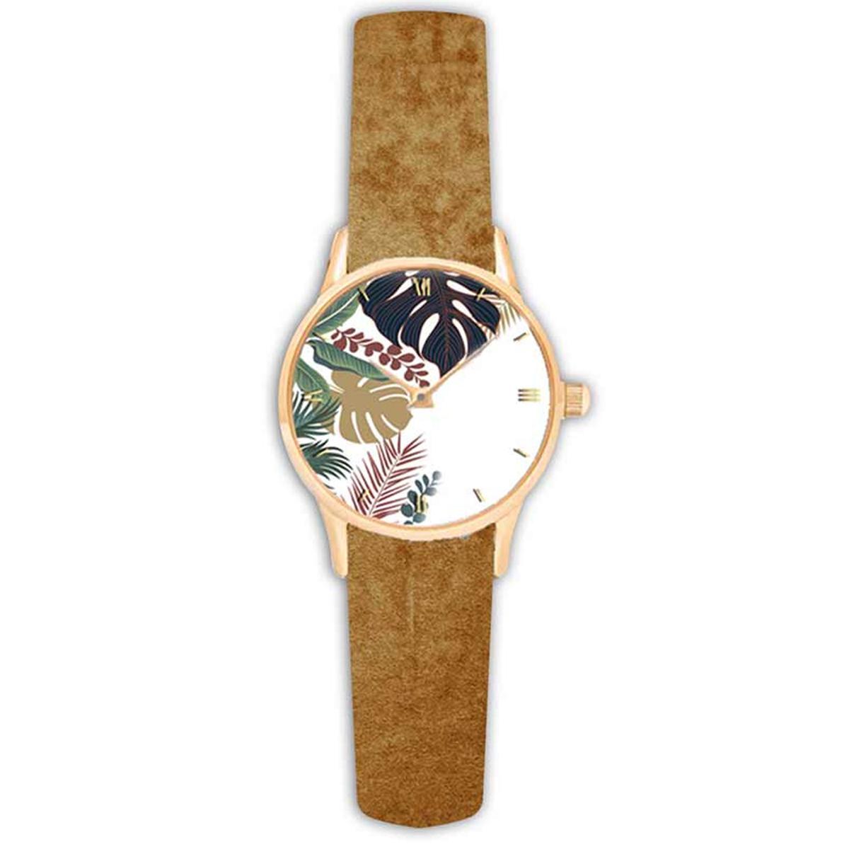 Montre créateur \'Jungle\' marron blanc (monstera) - 38 cm - [Q9022]