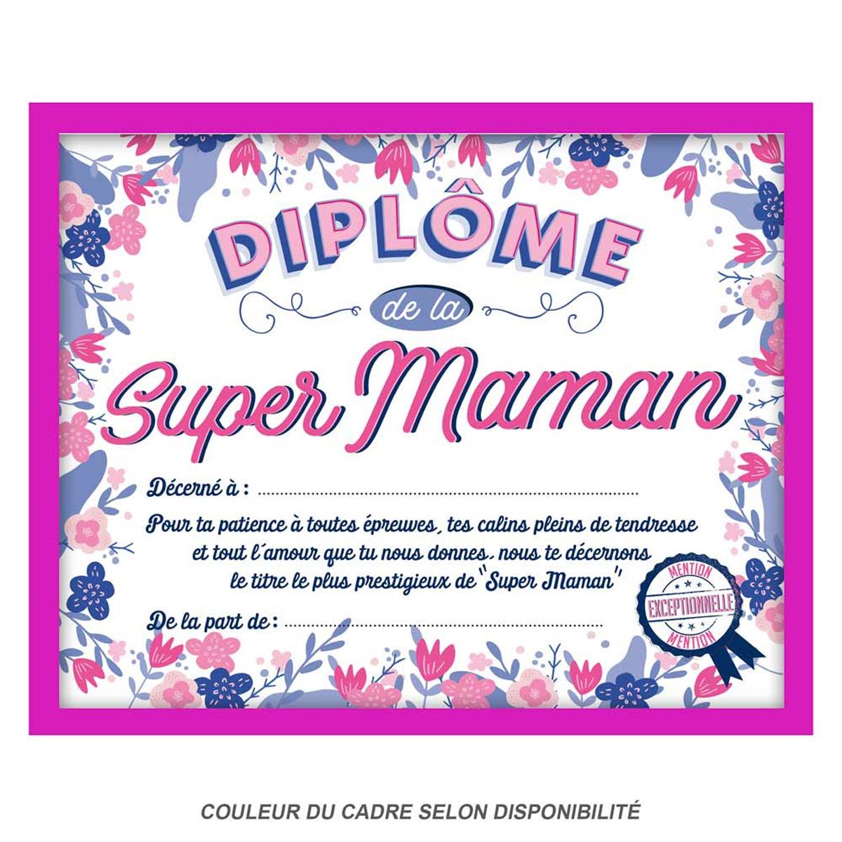 Cadre \'Diplôme de la Super Maman\' rose - 25x20x15 cm - [Q9595]