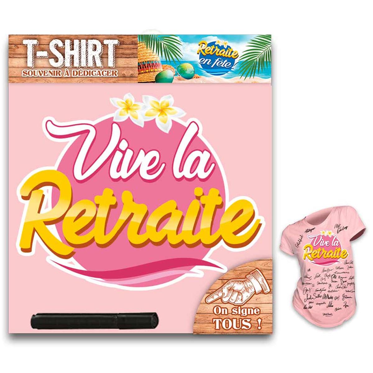 T-shirt \'Retraite\' rose - femme (dédicace) - [R1413]