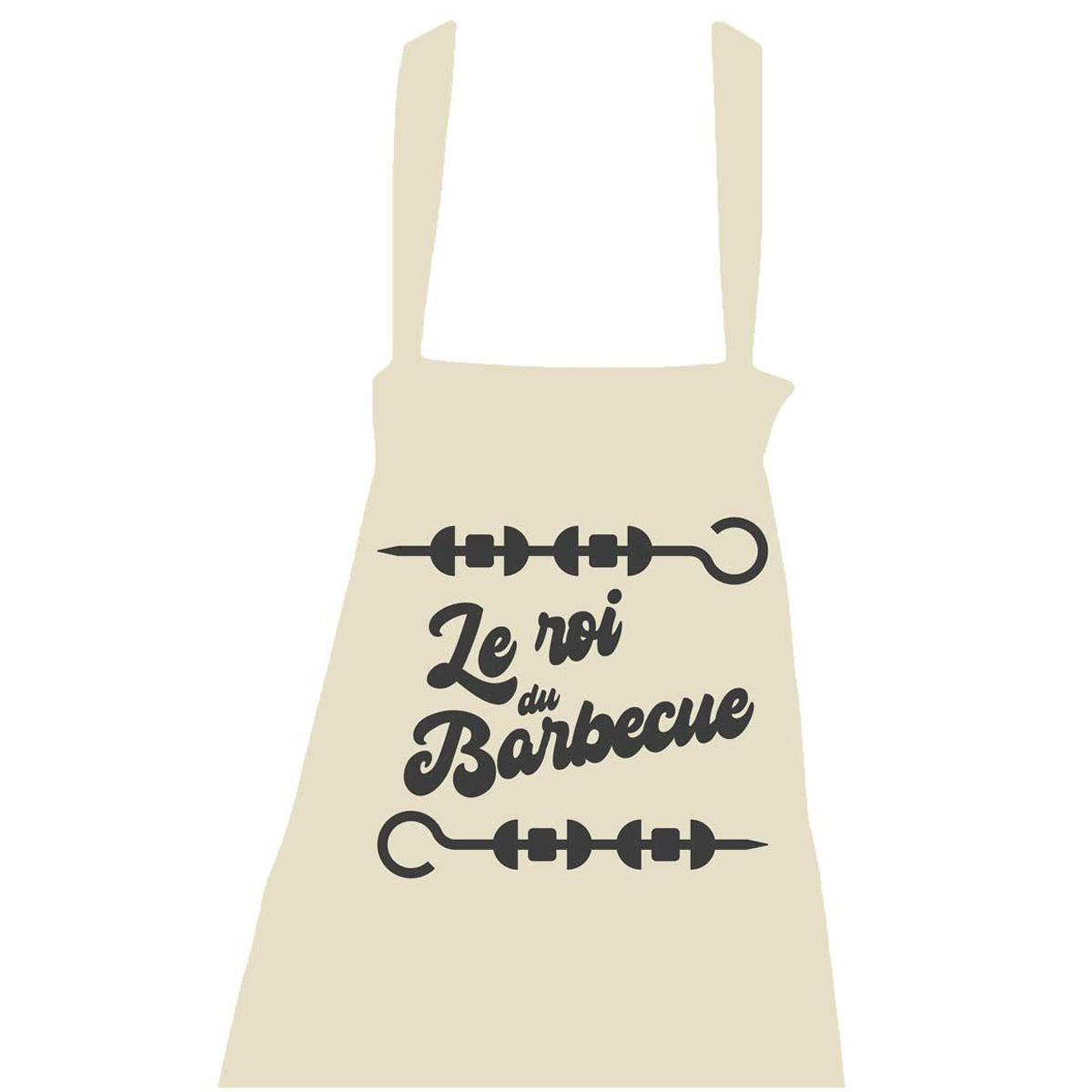 Tablier coton \'Messages\' beige (Le roi du Barbecue - brochettes) - taille unique - [R1444]