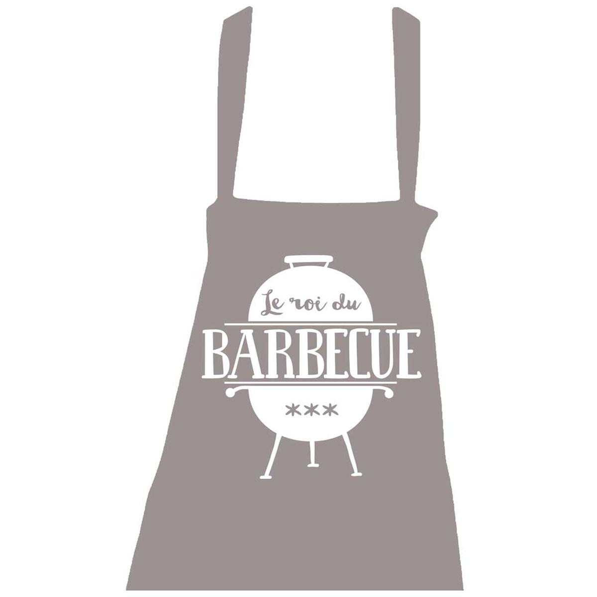 Tablier coton \'Messages\' gris (Le roi du Barbecue - barbecue) - taille unique - [R1526]