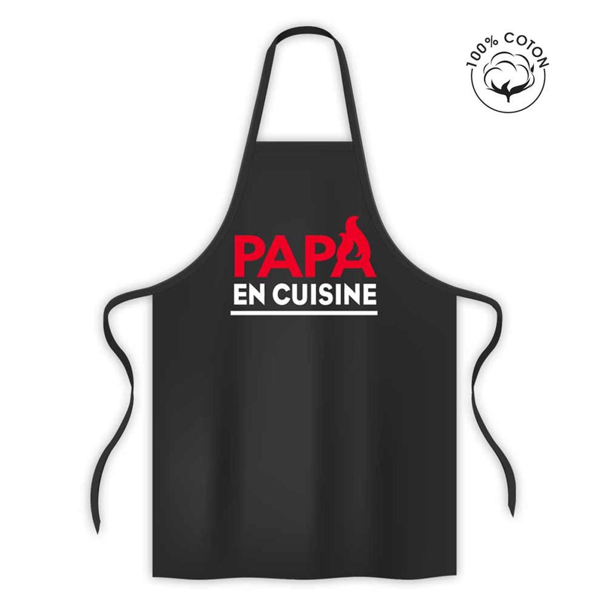 Tablier coton \'Papa en Cuisine\' noir - 80x70 cm - [R1581]