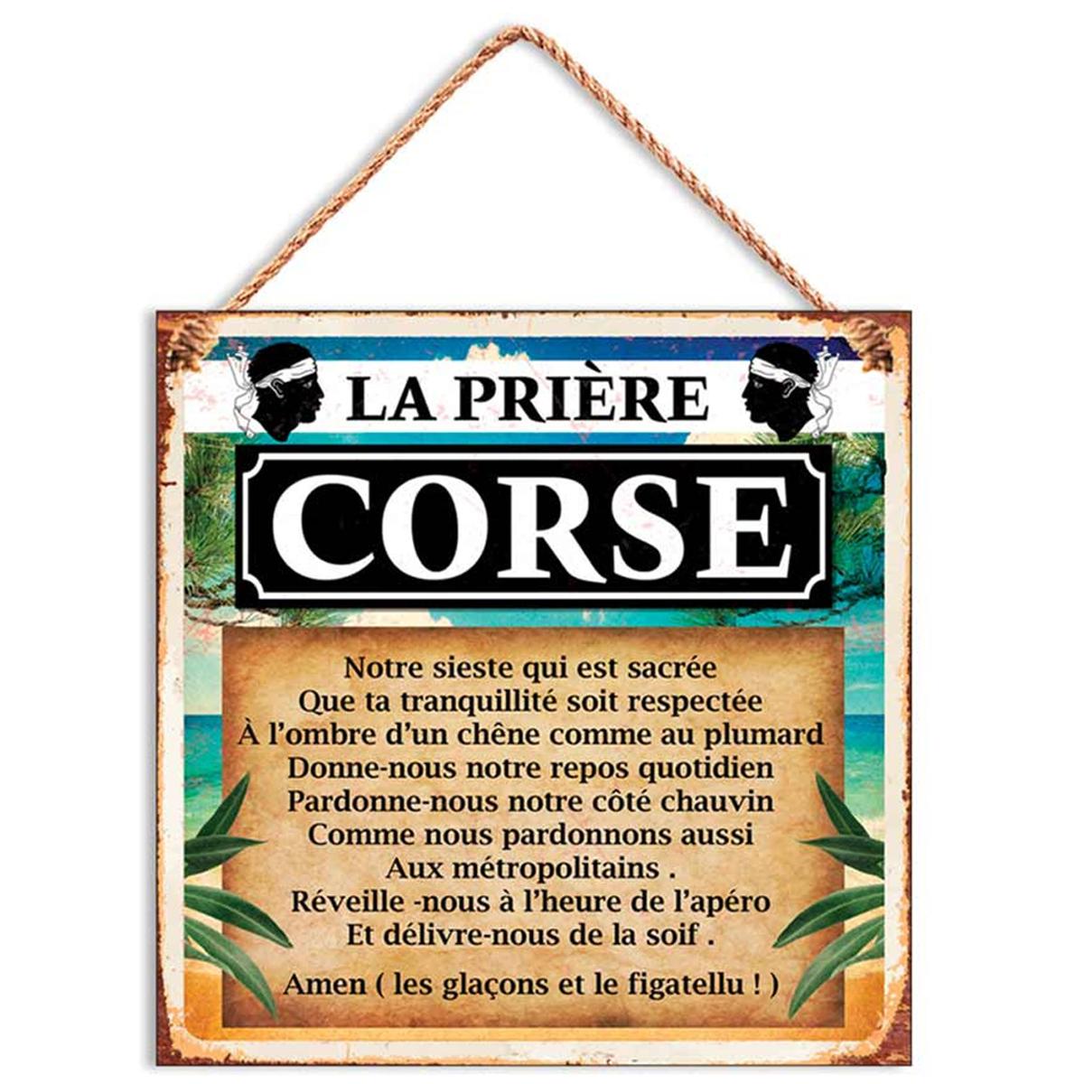 Plaque métal \'Corse\' (la Prière Corse) - 20x20 cm - [R1629]