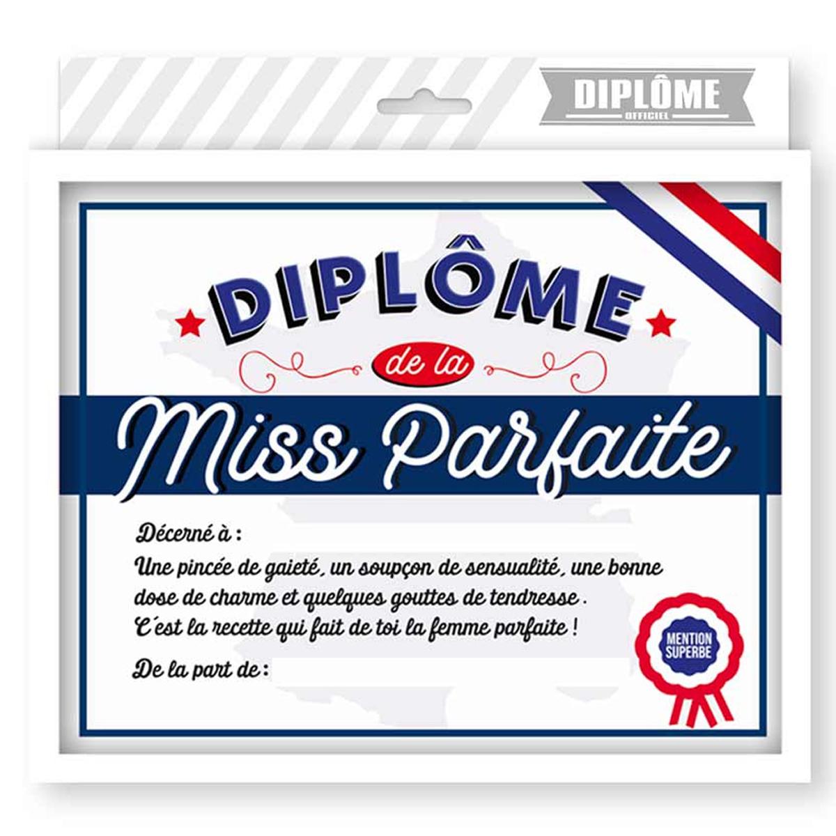 Cadre \'Diplôme de la Miss Parfaite\' bleu blanc rouge - 25x20x15 cm - [R1806]