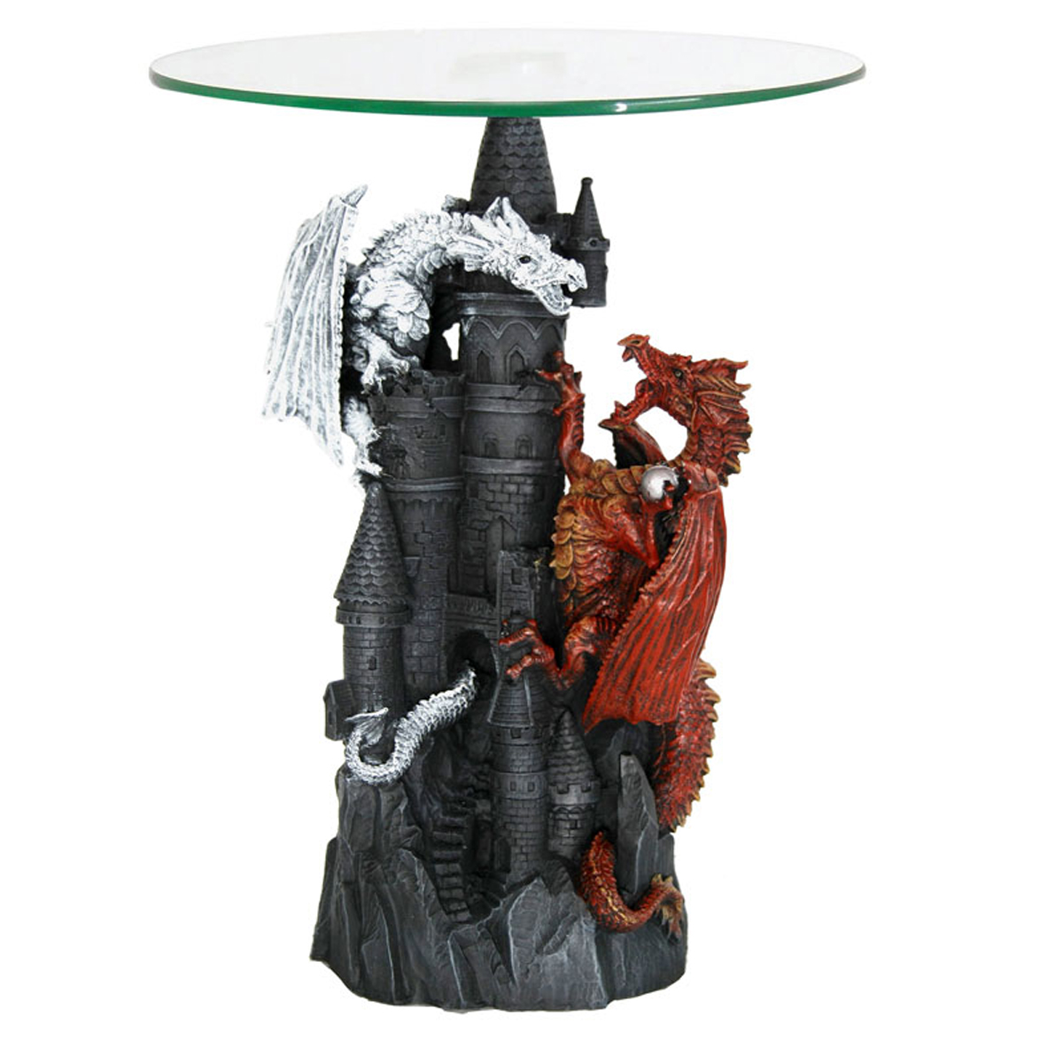 Table guéridon résine verre \'Dragon Mystique\' argenté rouge gris - 46x41x40 cm - [R2794]