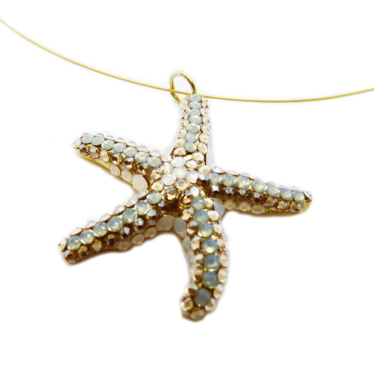 <A MODIFIER> Collier artisanal \'Athena\' vert beige doré (étoile des mers)  - 35x35 mm - [R4733]