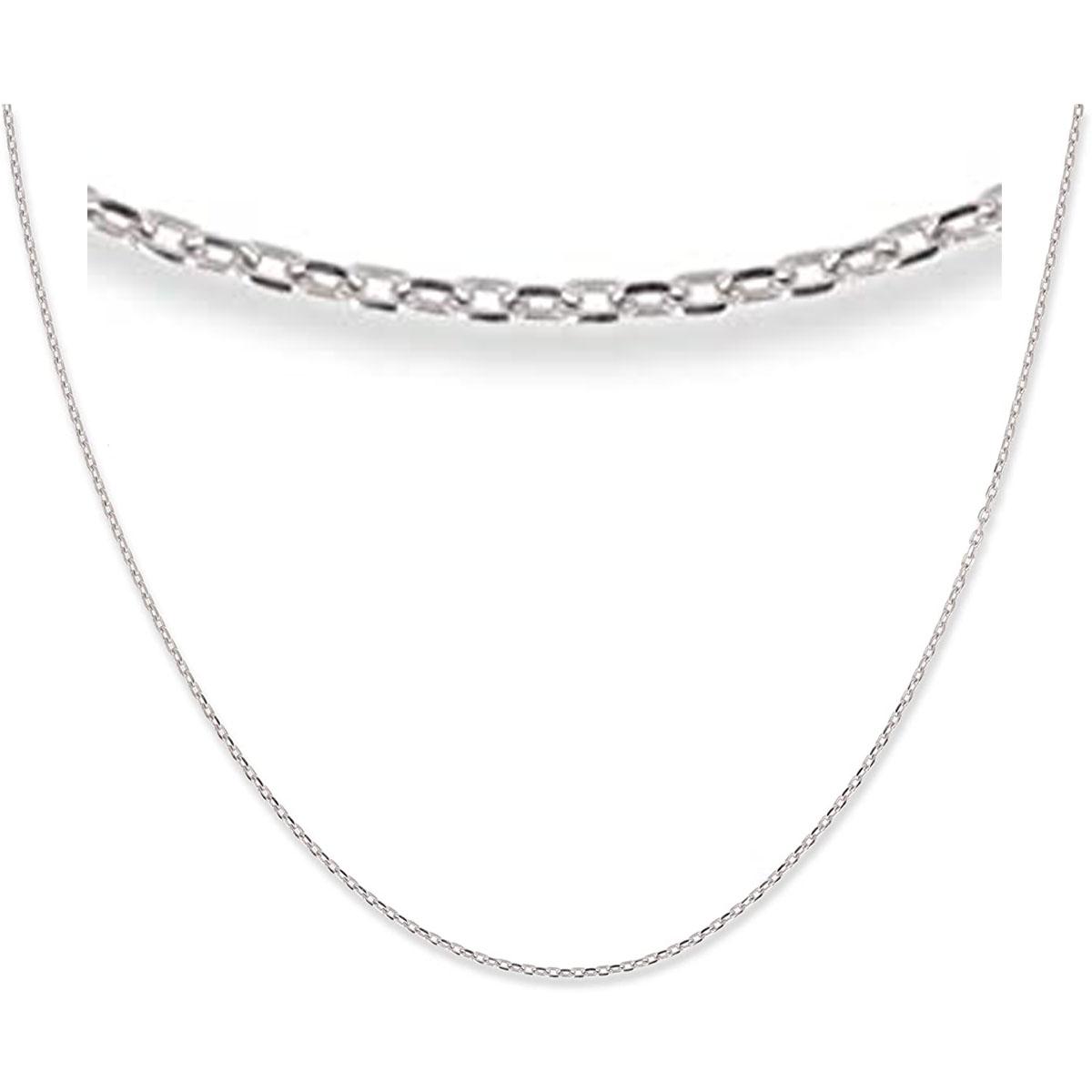 Chaine Argent \'Forçat\' argenté (rhodié) - 42 cm 1 mm - [R4751]