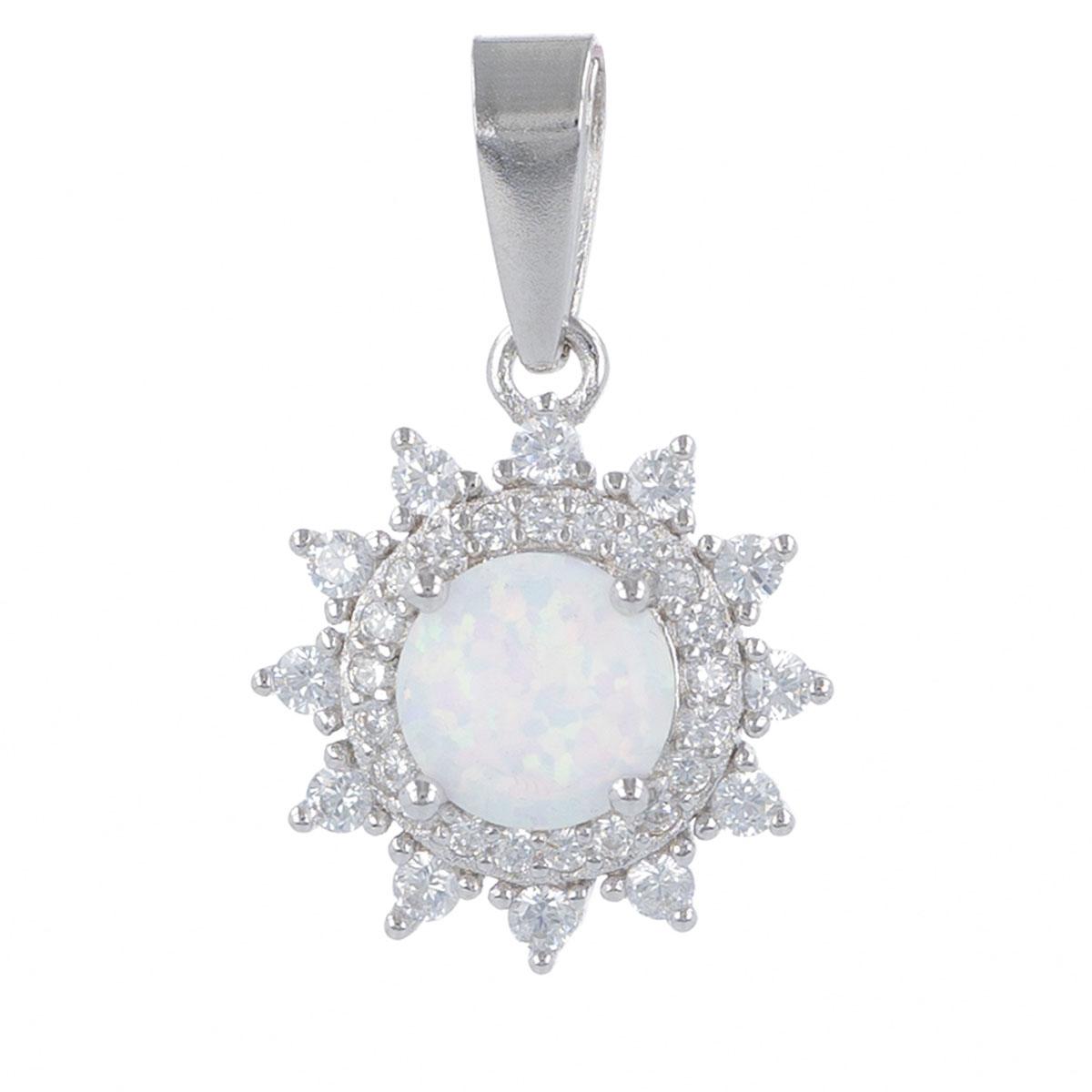 Pendentif Argent \'Déesse Opale\' blanc argenté (rhodié) - 13 mm - [R4795]