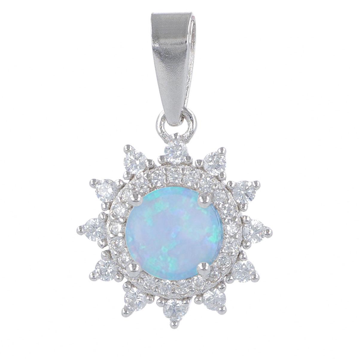 Pendentif Argent \'Déesse Opale\' bleu blanc argenté (rhodié) - 13 mm - [R4796]