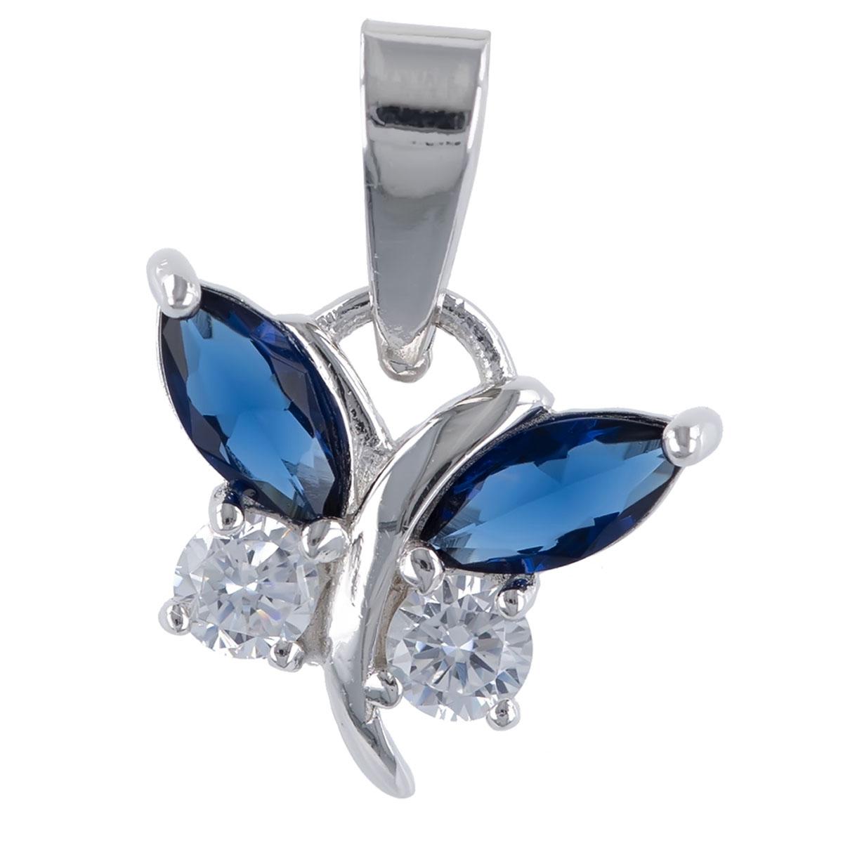 Pendentif argent \'Papillons de Charme\' bleu argenté (rhodié) - 12x9 mm - [R4801]