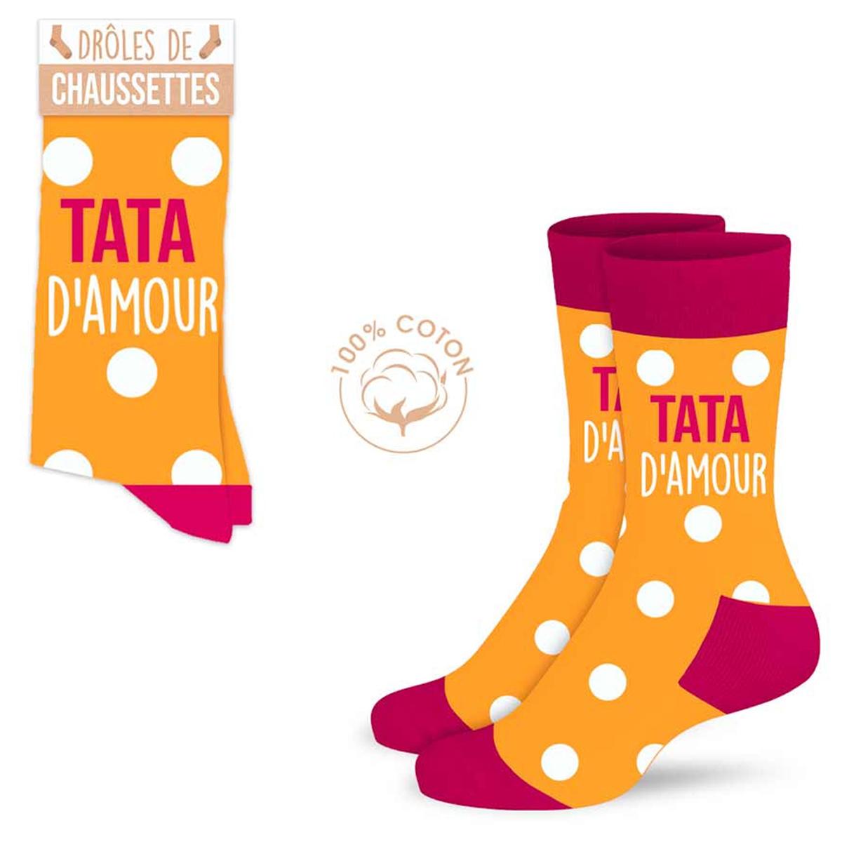 Chaussettes coton tendresse \'Tata d\'amour\' orange - taille unique - [A0916]