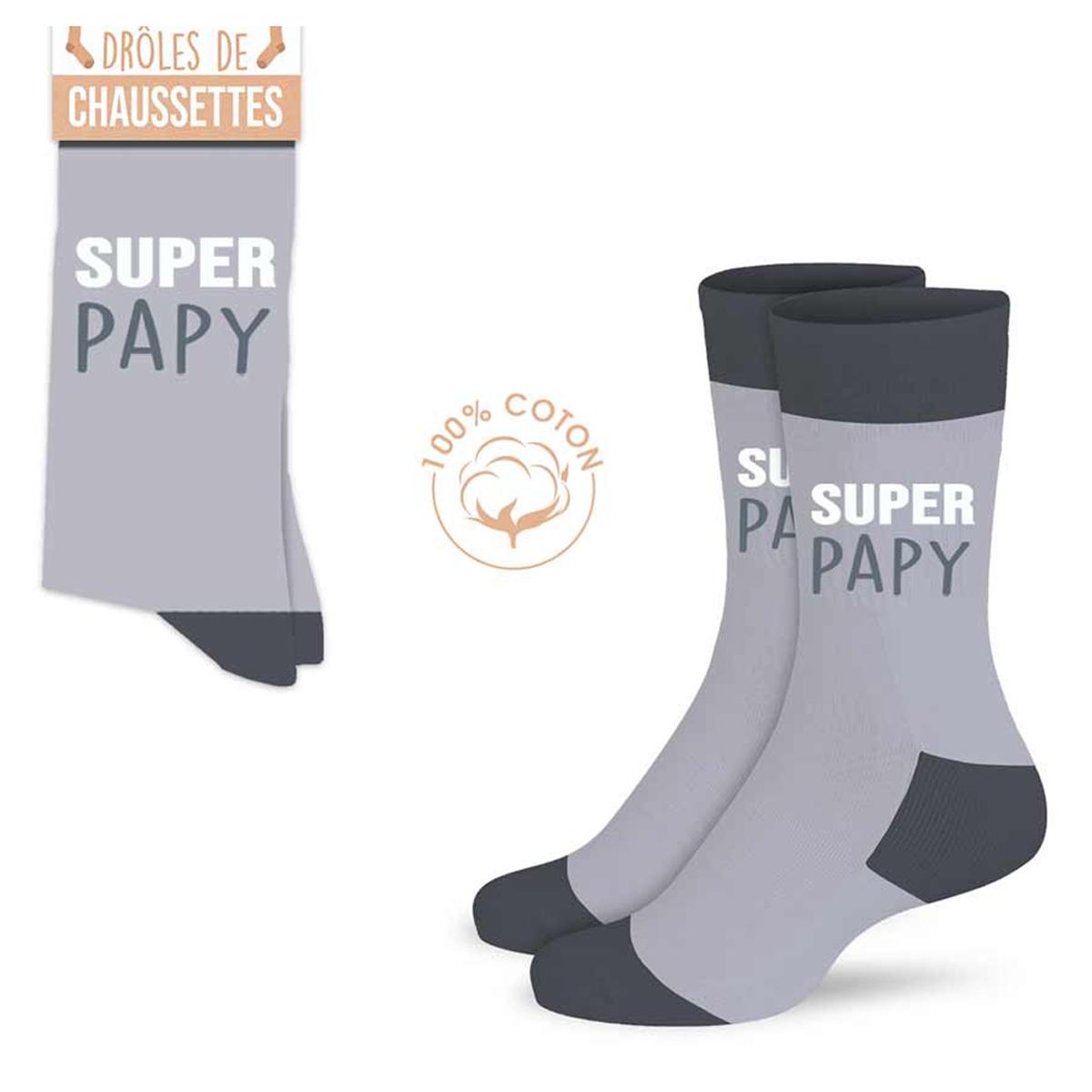 Chaussettes coton tendresse \'Super Papy\' gris - taille unique - [A0986]