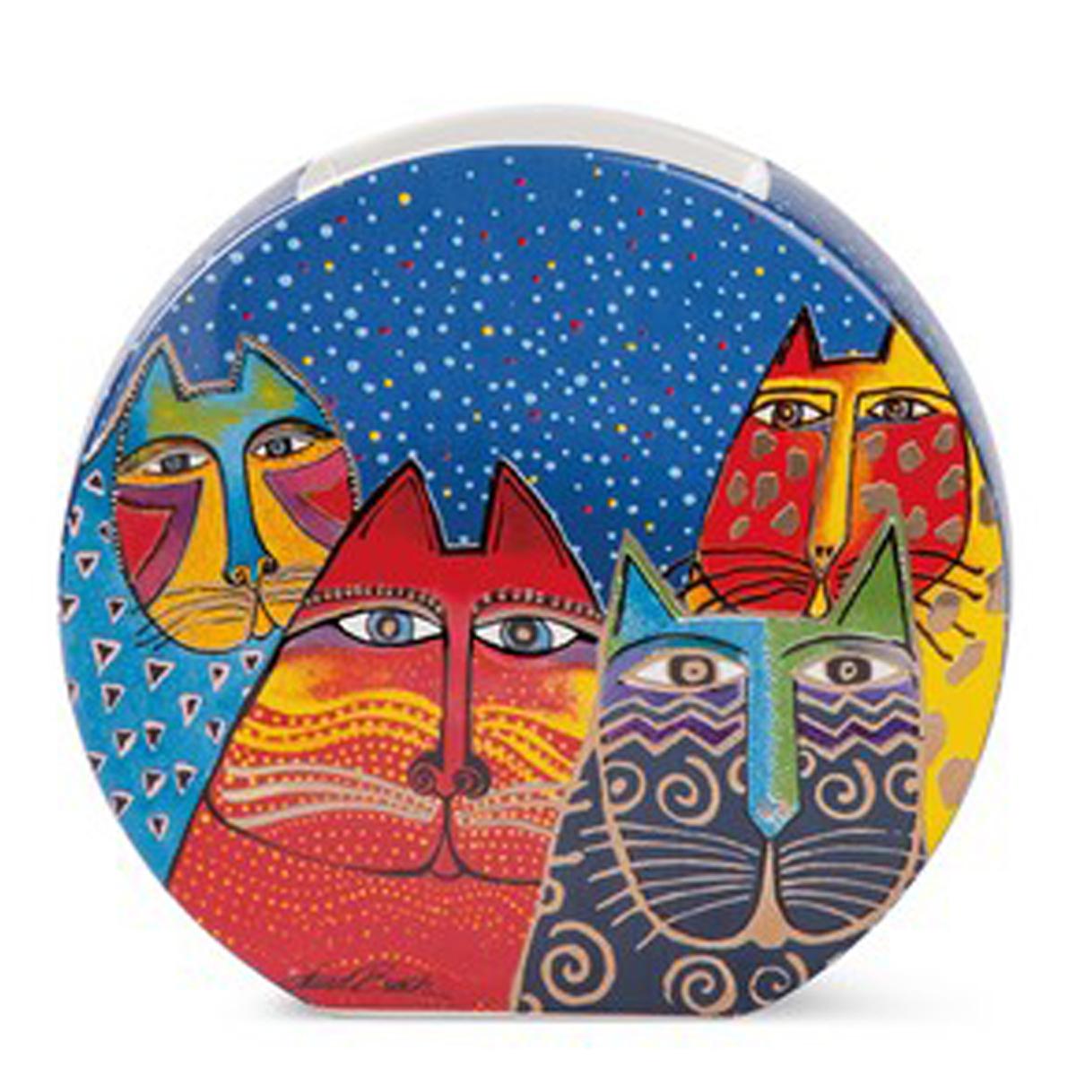 Vase céramique \'Laurel Burch\' multicolore (chats) - 17x16 cm - [A2664]