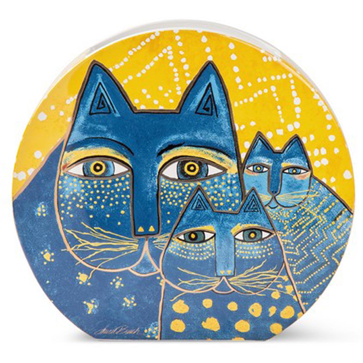 Vase céramique \'Laurel Burch\' jaune bleu (chats) - 27x25x6 cm - [A2665]