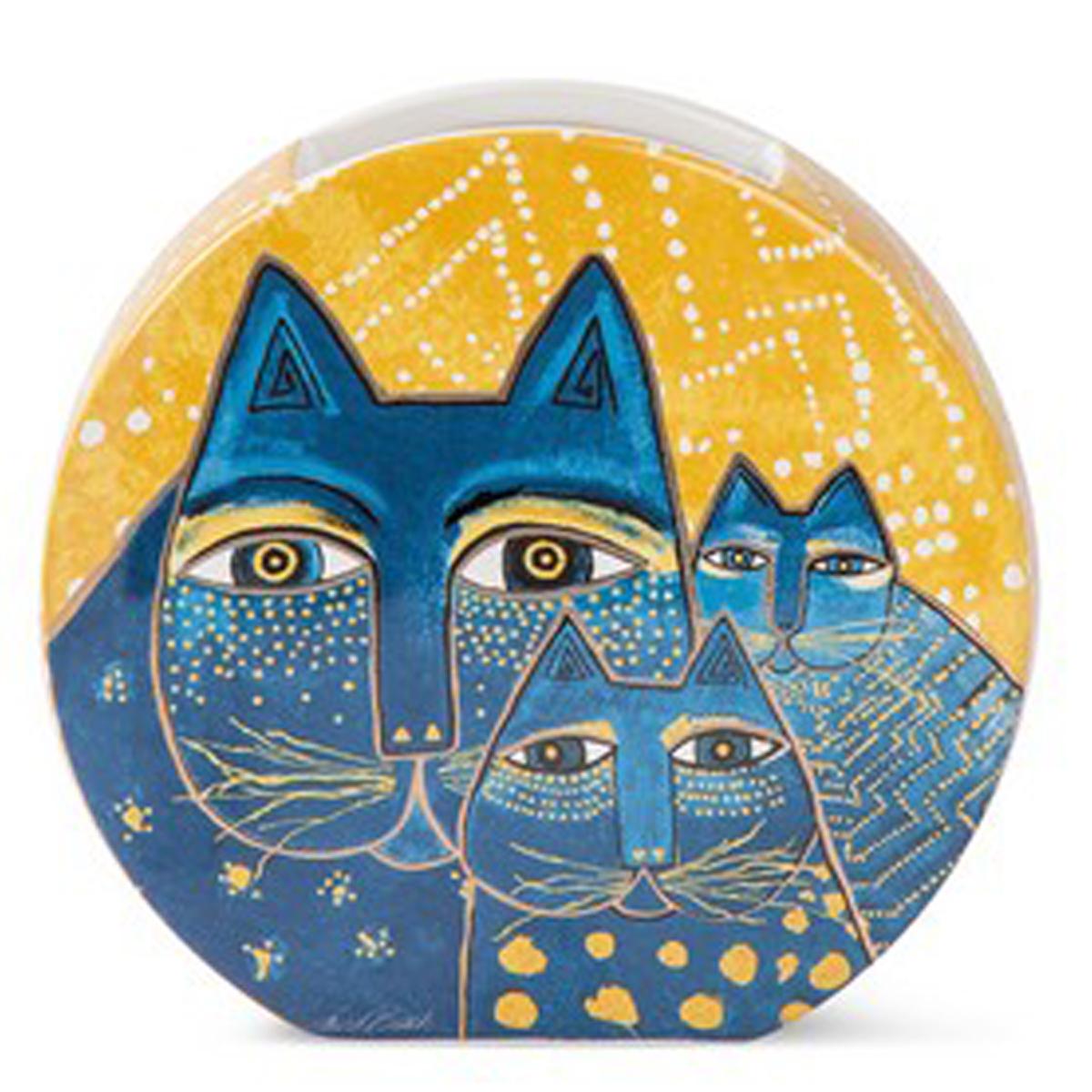 Vase céramique \'Laurel Burch\' jaune bleu (chats) - 17x16 cm - [A2666]