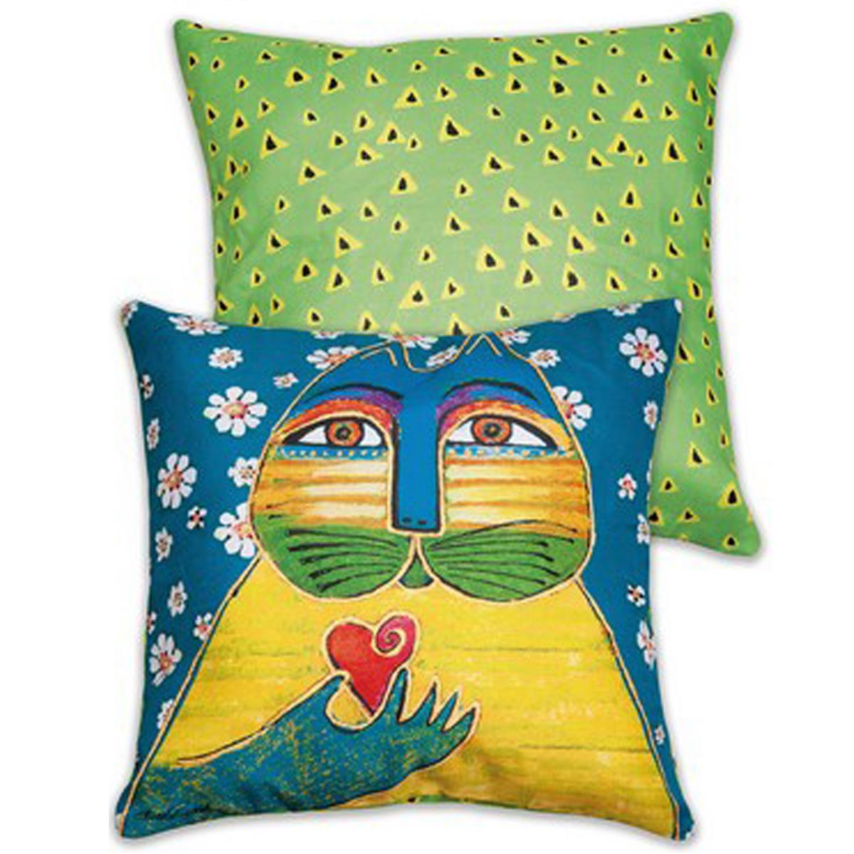 Coussin créateur \'Laurel Burch\' bleu jaune (chats) - 45x45 cm - [A2667]