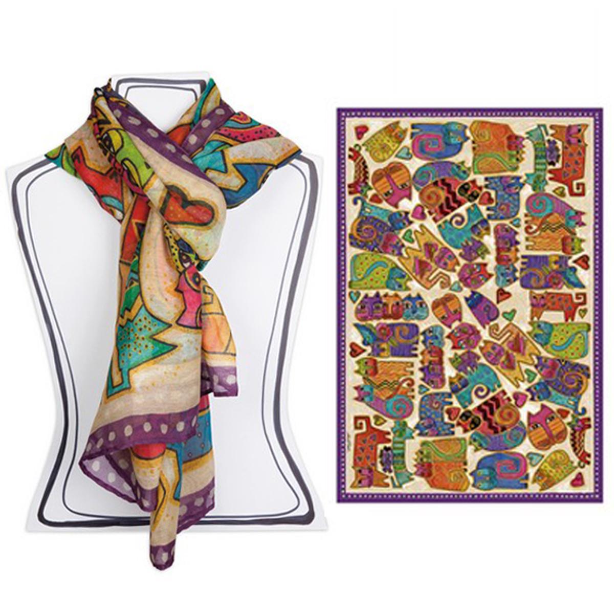 Foulard créateur \'Laurel Burch\' multicolore (chats) - 180x110 cm - [A2669]