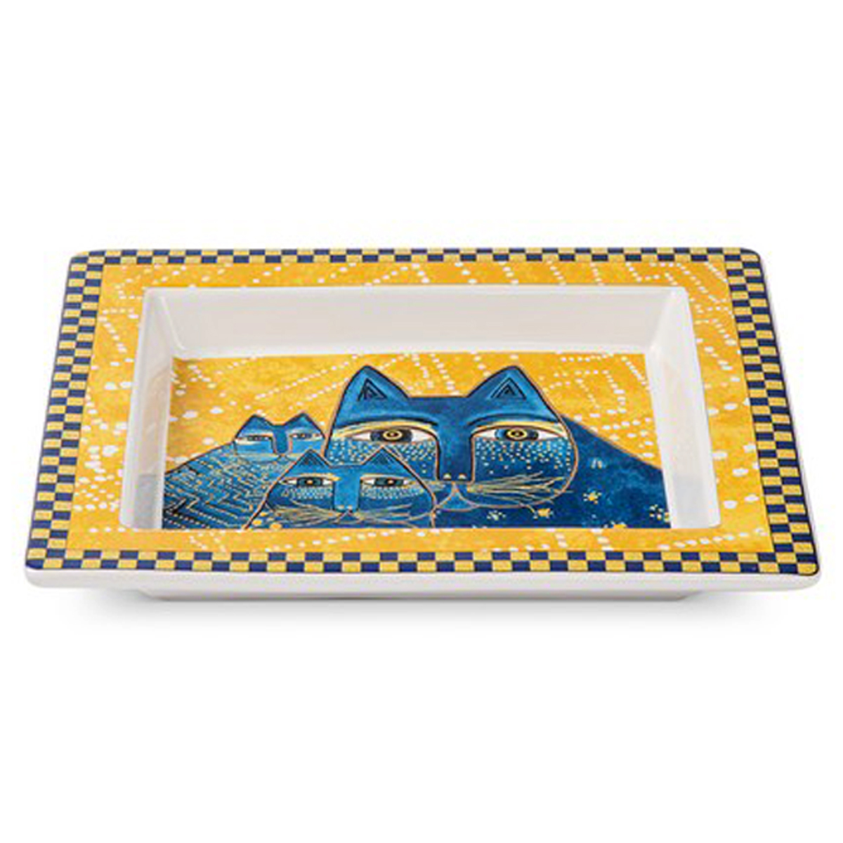 Coupelle Vide-poches porcelaine \'Laurel Burch\' jaune bleu (chats) - 20x18 cm - [A2672]
