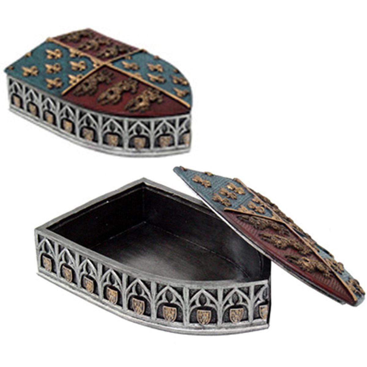 Boite à bijoux résine \'Richard Coeur de Lion\' gris bleu marron - 15 cm - [A2674]