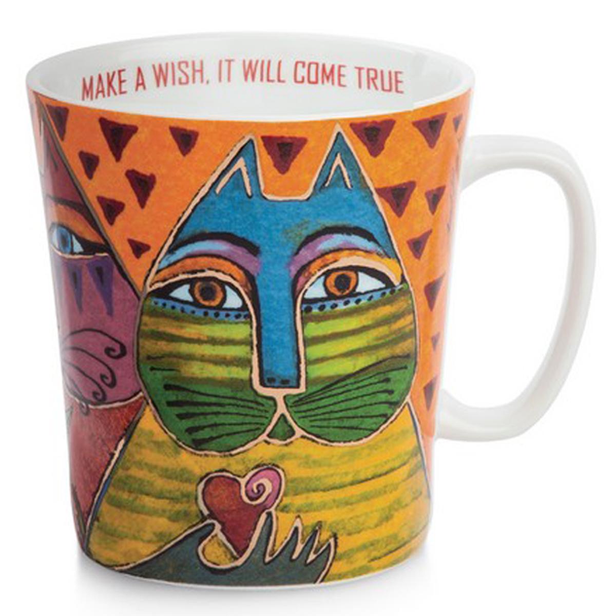 Mug porcelaine \'Laurel Burch\' orange multicolore (chats) - 10x9 cm (430 ml) - [A2675]