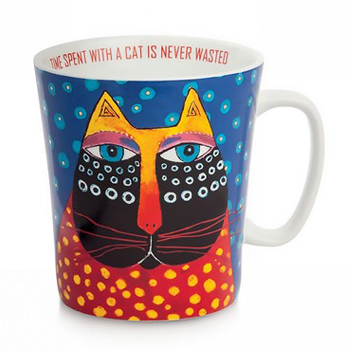 Mug porcelaine \'Laurel Burch\' bleu multicolore (chats) - 10x9 cm (430 ml) - [A2676]