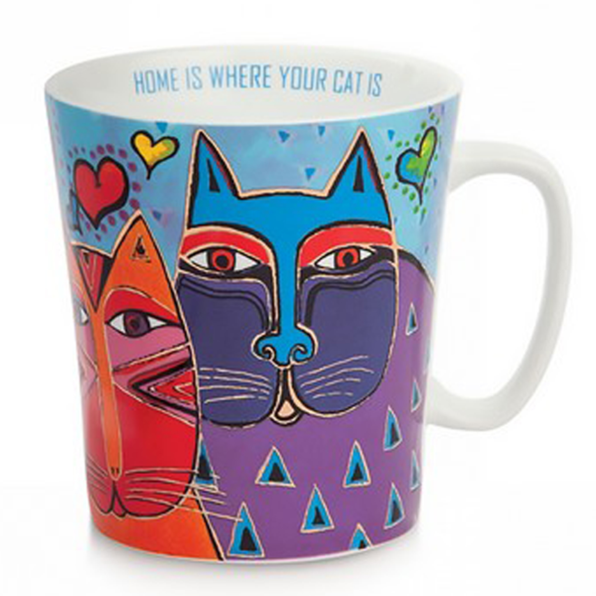 Mug porcelaine \'Laurel Burch\' bleu clair multicolore (chats) - 10x9 cm (430 ml) - [A2677]