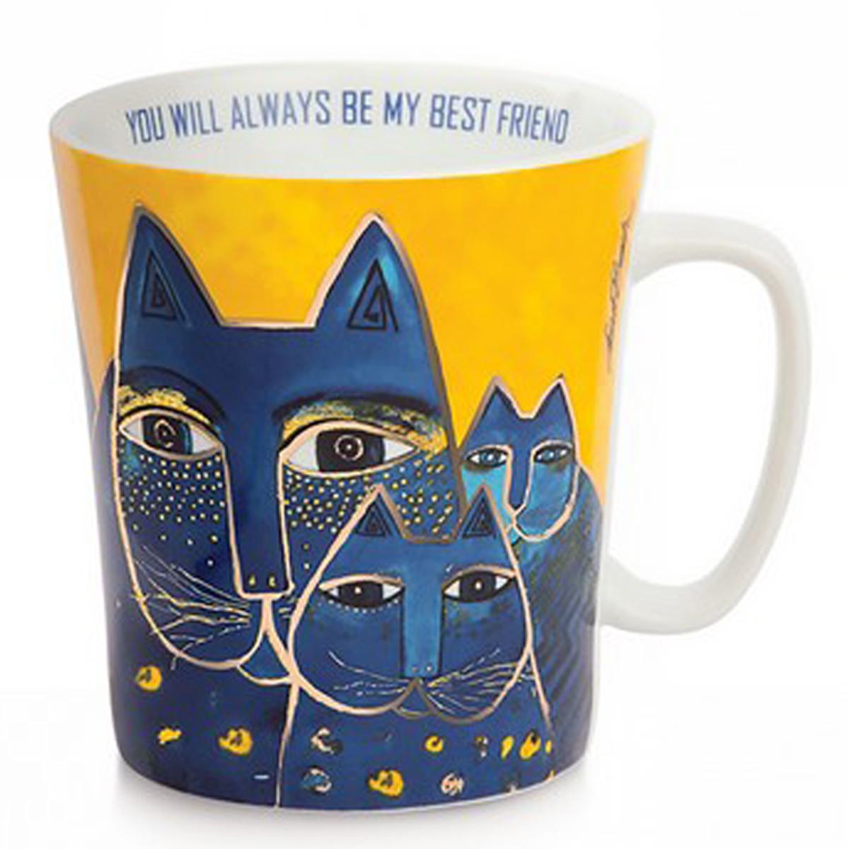 Mug porcelaine \'Laurel Burch\' jaune bleu multicolore (chats) - 10x9 cm (430 ml) - [A2678]