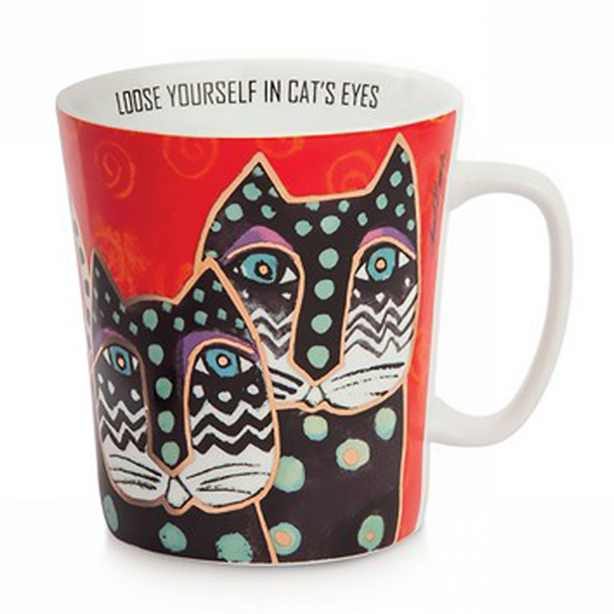 Mug porcelaine \'Laurel Burch\' rouge multicolore (chats) - 10x9 cm (430 ml) - [A2679]
