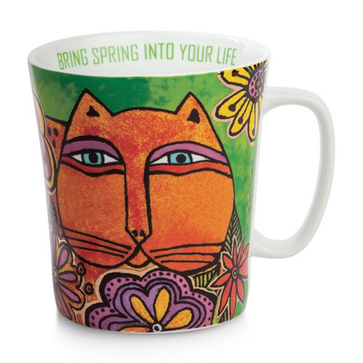 Mug porcelaine \'Laurel Burch\' vert multicolore (chats) - 10x9 cm (430 ml) - [A2680]