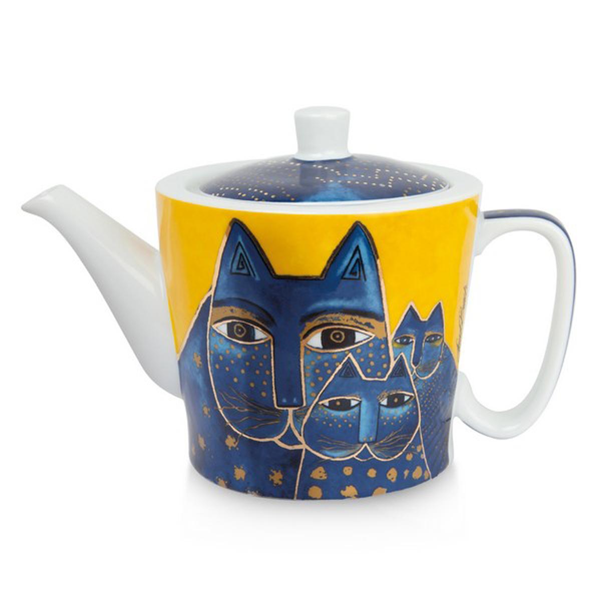 Théière porcelaine \'Laurel Burch\' jaune bleu (chats) - 10x9 cm (450 ml) - [A2681]