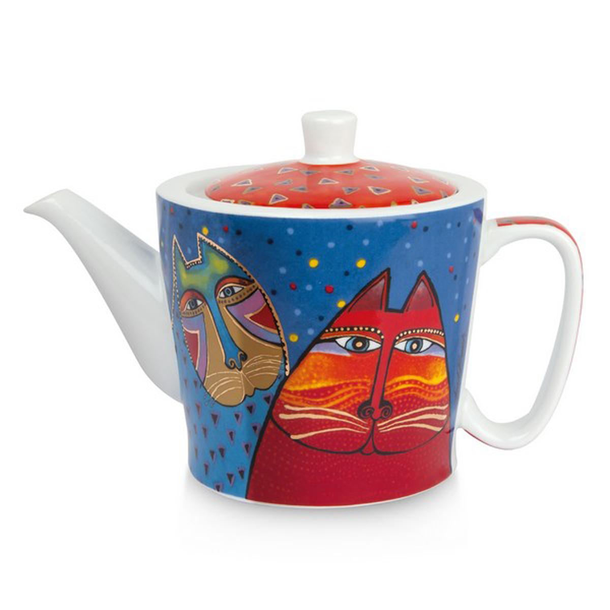 Théière porcelaine \'Laurel Burch\' bleu rouge (chats) - 10x9 cm (450 ml) - [A2682]