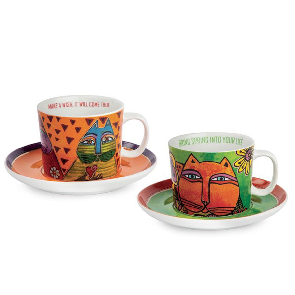 Coffret duo déjeuner porcelaine \'Laurel Burch\' orange vert (chats) - tasse 9x7 cm (340 ml) - [A2687]
