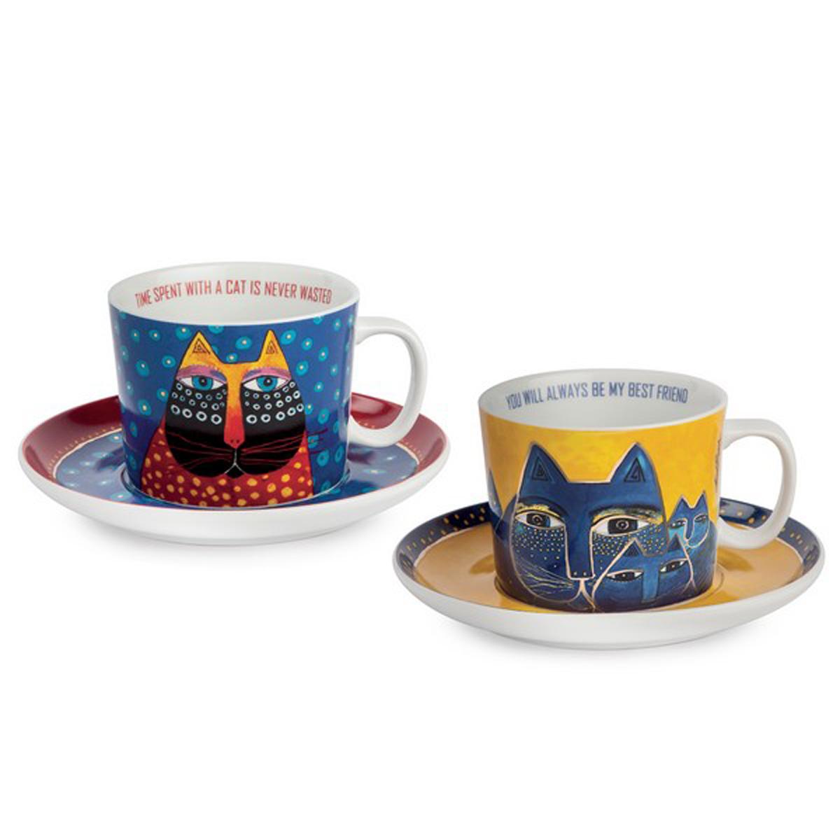 Coffret duo déjeuner porcelaine \'Laurel Burch\' bleu jaune (chats) - tasse 9x7 cm (340 ml) - [A2688]