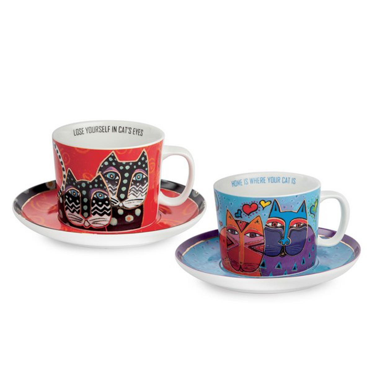 Coffret duo déjeuner porcelaine \'Laurel Burch\' bleu rouge (chats) - tasse 9x7 cm (340 ml) - [A2689]