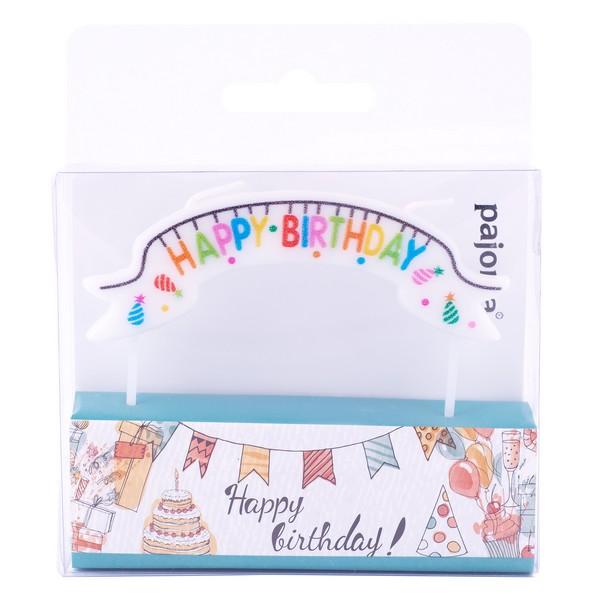 Bougie \'Happy Birthday\' multicolore (anniversaire) - 9x3 cm - [A2690]