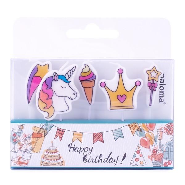 5 bougies \'Joyeux Anniversaire\' licorne - hauteur 5 cm - [A2691]