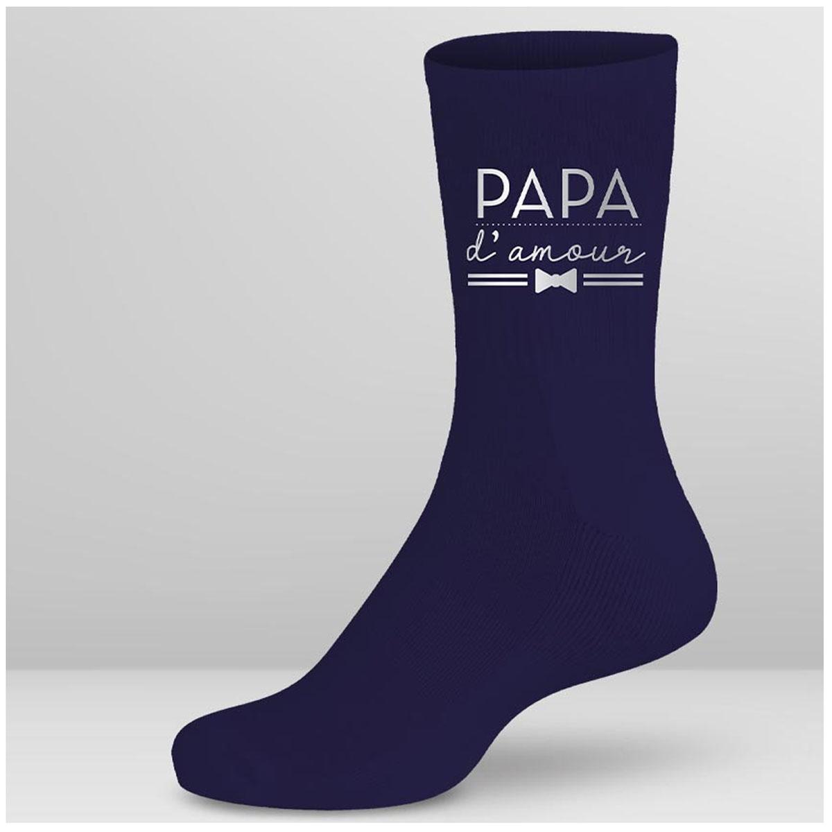 Chaussettes coton tendresse \'Papa d\'amour\' bleu - taille unique - [A2702]
