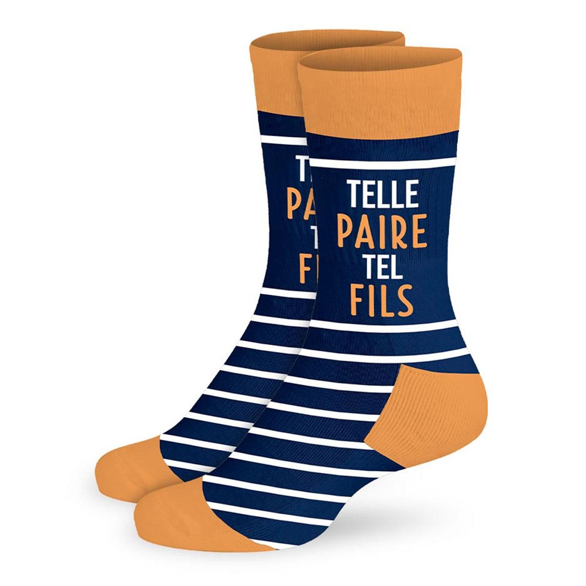 Chaussettes coton tendresse \'Telle Paire Tel Fils\' bleu (papa) - taille unique - [A2703]